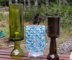 Cut glass bottles.