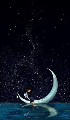 Night Sky Wallpaper, Scenery Wallpaper, Galaxy Wallpaper, Moon And Stars Wallpaper, Dream Drawing, Boat Drawing, Art Hipster, Moon Sketches, Tableau Pop Art