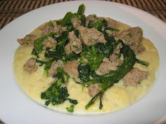 """One of the challenges of cooking is being able to use leftovers. Not just the cooked leftovers but the """"I only used 4 out of the 5 sausages that were in the package. Italian Dishes, Italian Recipes, Savory Donuts Recipe, 30 Min Dinner, Broccoli Rabe Recipe, Beef Roll, Pork Dishes, Sausages, Polenta"""