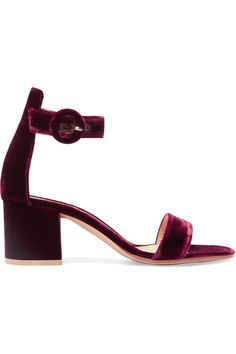 Heel measures approximately 60mm/ 2.5 inches  Burgundy velvet Buckle-fastening ankle strap  Made in Italy