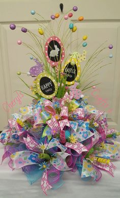 Reserved for Mel,Easter Centerpiece, Happy Easter Centerpiece by CherylsCrafts1 on Etsy