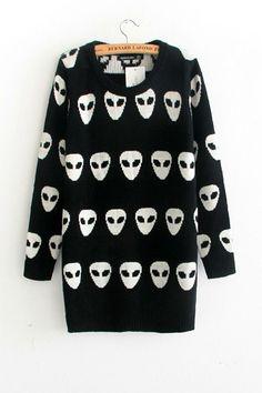 Skull Loose Long Sleeve Sweater