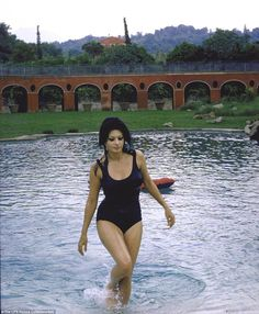 Living in paradise: Oscar-winning actress Sophia Loren just finishing a swim in the pool of her villa in Italy