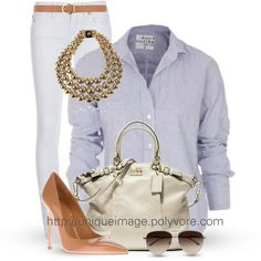 Classy white pants and button up shirt