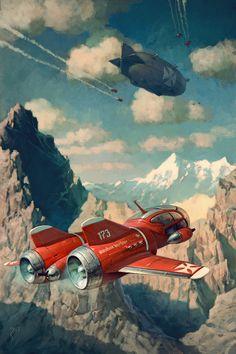Nach Tibet by *Waldemar-Kazak. Steampunk or Dieselpunk? Cyberpunk, Arte Sci Fi, Sci Fi Art, Diesel Punk, Steampunk, Creative Illustration, Illustration Art, Tibet, Sci Fi Kunst