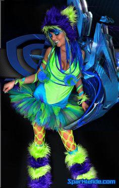 rave neon people