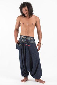 Pinstripe Cotton Low Cut Men's Harem Pants with Elephant Trim in Navy Dhoti Pants For Men, Harem Pants Men, Pajama Pants, Tribal Fashion, Boho Fashion, Mens Fashion, Fashion Ideas, Elephant Pants, Leather Armor