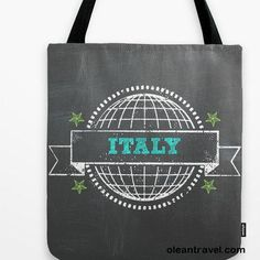 Italy Tote Bag: book bag, travel bag, Italian, typography, words, chalkboard, Europe, dark gray, charcoal, white, world hipster - http://oleantravel.com/italy-tote-bag-book-bag-travel-bag-italian-typography-words-chalkboard-europe-dark-gray-charcoal-white-world-hipster
