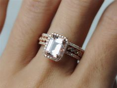 Three Rings Set 14K Rose Gold 6x8mm Diamond Halo by InOurStar