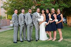 Our wedding party- navy, grey and white