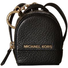 MICHAEL Michael Kors Leather Charms Rhea Backpack (Black) Wallet (€49) ❤ liked on Polyvore featuring bags, backpacks, black, leather strap backpack, day pack backpack, zip bag, leather bags and genuine leather backpack