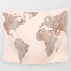 World map wall tapestry gray and cream modern map printed wall buy rosegold marble map of the world wall tapestry by mapmaker worldwide shipping available at gumiabroncs Image collections