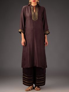 Dark Brown Embroidered Silk Kurta - Dark Brown Embroidered Silk Kurta Jaypore A classic long-length silk kurta with silk thread, zari and sequins embroidery, this can be paired with embroidered palazzos for a complete look.  $178