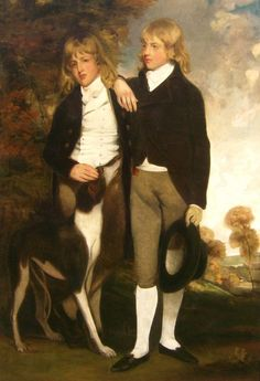 portrait of the Cust brothers - the Hon. John Cust, later 1st Earl Brownlow (1779-1853) on the right, and the Hon. Henry Cust (1780-1861) by John Hoppner, RA, (1758-1810),1795, in the Breakfast Room at Belton House.