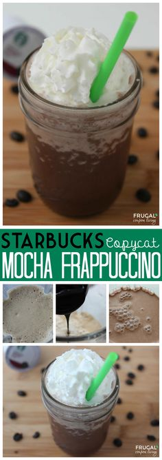 Copycat Starbuckis Recipe - Make your own Mocha Frappuccino on Frugal Couupon Living - such a summertiime treat drink recipe.