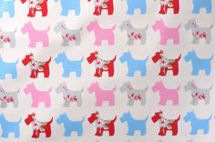SCOTTIES GREY PINK PVC WIPE CLEAN COVER OILCLOTH TABLECLOTH CO choose the length
