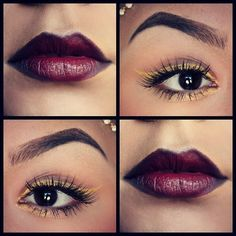 Yellow Eyes & Plum lips.  Not sure I like the lips but like the eyes!
