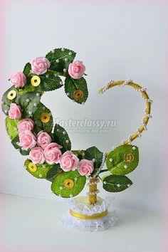 Καρδιά της τεχνητά άνθη βημα-βημα