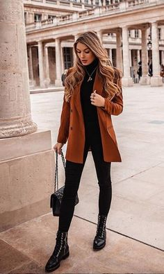 Casual Winter Outfits, Edgy Outfits, Winter Fashion Outfits, Mode Outfits, Look Fashion, Blazer Outfits, Elegantes Outfit Damen, Mode Adidas, Look Blazer