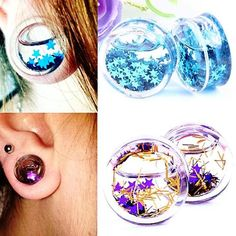 Glitter Stars Blue or Purple Float Liquid Acrylic Ear Stretcher Plugs Gauges 1 Pair Sizes 6mm - 16mm #bodyjewelry #plugs #gauges #alternative #forsale #floatingglitter #glittergauges #purplestars #bluestars #purpleglitter #blueglitter #jewelry