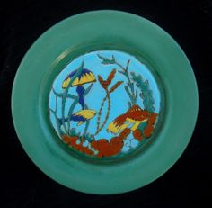 Catalina Pottery Glaze Painted Plate Under Sea Gardens - Most common of the 4 Glaze Painted Plates