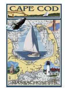 Cape Cod, Massachusetts Chart & Views Prints at AllPosters.com