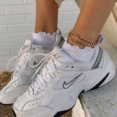 Nike sneakers paired with ruffled socks and ankle bracelets Dr Shoes, Hype Shoes, Me Too Shoes, Nike Dad Shoes, Shoes Jordans, Shoes Heels, Vans Sneakers, Sneakers Fashion, Fashion Shoes