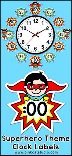 These fun superhero kids theme labels will look fantastic around your classroom clock! By Pink Cat Studio