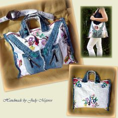Handmade by Judy Majoros - Denim bag embroidered with birds. crossbody bag. Recycled bag
