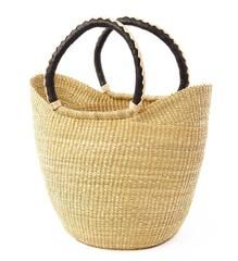 Natural Shopping Tote with Leather Handles - Basket Handmade in Africa - Swahili Modern - 1