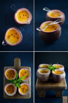 Passionfruit and Mint Panna Cotta - Chew Town Delicious Desserts, Dessert Recipes, Yummy Food, Verrine Fruit, Passionfruit Recipes, Dessert Aux Fruits, Food Presentation, Food Inspiration, Sweet Recipes