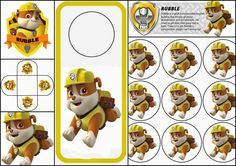 Paw Patrol o Patrulla Canina: Divertido Kit de Rubble para Imprimir Gratis.