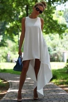 White High-Low Hem S