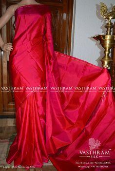 Online shopping from a great selection at Clothing & Accessories Store. Phulkari Saree, Silk Saree Kanchipuram, Kerala Saree Blouse Designs, Saree Dress, Kanjipuram Saree, Lehenga, Plain Saree, Indian Silk Sarees, Indian Bridal Fashion