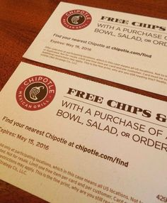 CHIPOTLE Coupons for CHIPS and SALSA Expires 05.15.2016 Special OFFER See Pics!!