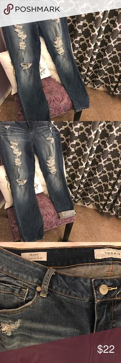 """Torrid Skinny Jeans - Medium Wash with Destruction These jeans are in great shape! 14 Regular. Cotton/Spandex. These lean and sleek skinny jeans have that whole """"make your legs look like they go on forever"""" thing figured out. The medium wash denim looks vintage-inspired with hand-sanded fading and DIY-inspired rips courtesy of our denim team. A fitted stretch denim that will give your backside a lift, the ankle also has a bit of wiggle room. True to size!! torrid Jeans Skinny"""
