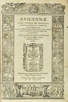 Title page. Canon of Medicine, Venice, 1544. Avicenna (https://pinterest.com/pin/287386019942020195).