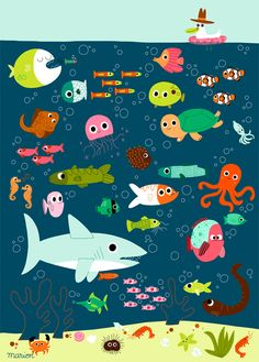 Poissons by Marion Billet – L'Affiche Moderne Art Wall Kids, Art For Kids, Wall Art, Under The Sea Theme, Animal Posters, Sea Fish, Fish Art, Children's Book Illustration, Illustrators