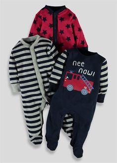 Boys 3 Pack Assorted Prints Sleepsuits (Tiny Baby - 18mths) - Matalan