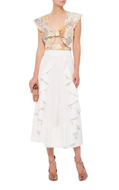 White Ruffled Front Worlds Way Pants by ALICE MCCALL Now Available on Moda Operandi