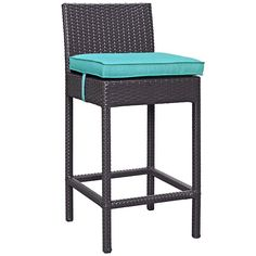 Lift Bar Stool Outdoor Patio Set of 2, Espresso Turquoise - Hop on and let Lift elevate your spirits. Procure a new view as you tilt back your favorite concoction. Whether gracing your sunroom or an outdoor bar, the generous and comforable cushion seats and all weather rattan weave provide a steady perch. Set Includes: Two - Lift Patio Stool. Material: PE rattan, polyurethane foam/polyster fiber, Aluminum; cushion density is 24kg/m3. Weight: 40