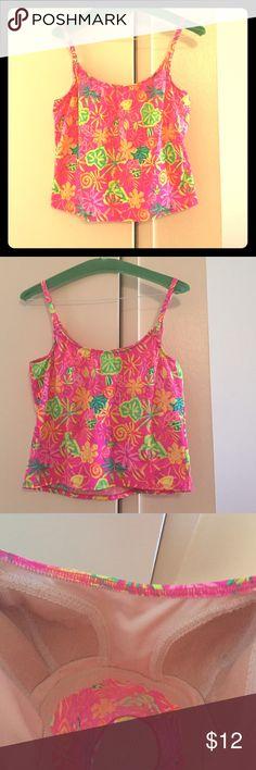 Swimsuit crop top Neon pink with print, built in bra Swim