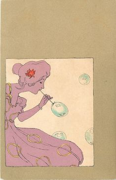 girl blowing bubbles - Art by Raphael Kirchner