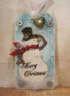 embossed gift tag, snowman diecut