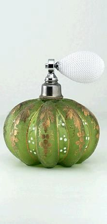 c.1930s-40s GILDED GREEN GLASS MELON FORM SCENT PERFUME ATOMISER SPRAY