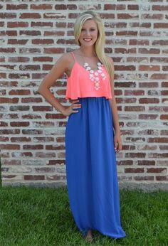 Neon Pink and Blue Ruffle Maxi Dress