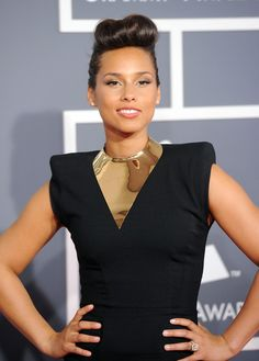 Alicia Keys on the 2012 Grammy Awards red carpet