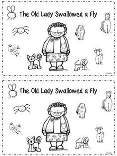 """There Was an Old Lady Who Swallowed a Fly"" literacy activities"