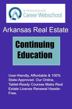 Arkansas Real Estate Continuing Education | Several courses to choose from