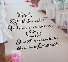 Customize your wedding aisle runner with our DIY Wedding Aisle Runner Dad Of All The Walks Stencil. Practice stencils and step by step instructions included Wedding Guest Book, Wedding Day, Wedding Stuff, Wedding Ceremony, Wedding Tips, Dream Wedding, Bridal Tips, Wedding Hacks, Glamorous Wedding
